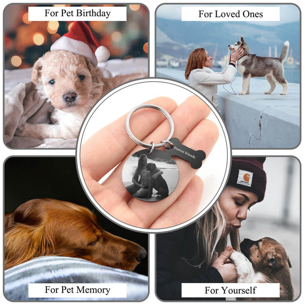 Jovivi personalized name tag engrave photo keychain set for men and women
