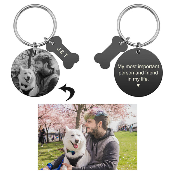 jnf002902 jovivi personalized custom photo name tag keychain set for him couples relationship keychain set
