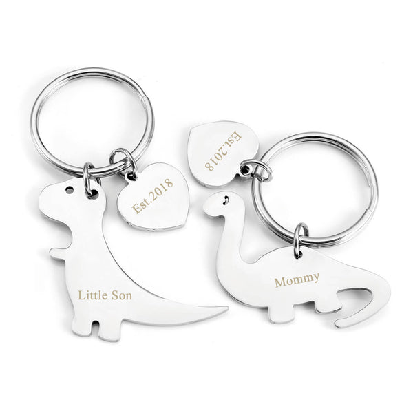 jovivi stainless steel name tag dinosaur keychain set for mom and baby, jnf004002