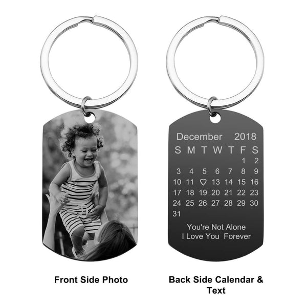 Jovivi personalized custom photo calendar keychain set for couples birthday gift, front side, jnf005703