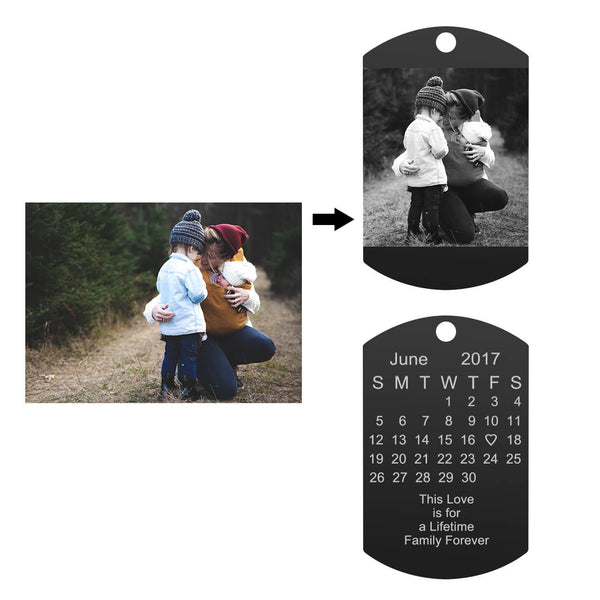 Jovivi customized photo calendar keychain pendant for women, photo on the front side, calendar on the back side, jnf005703