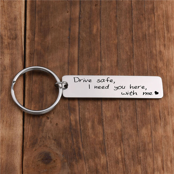 Jovivi Personalized Engraved Custom Drive Safe I Need You here with me Keychain Stainless Steel Key Ring for Car Driver Trucker Dad Husband Boyfriend