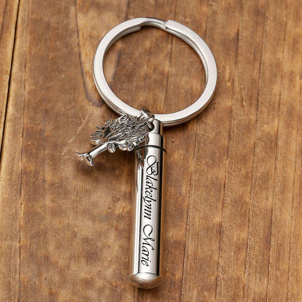 jovivi customized cylinder urn keychain for holding ashes with tree of life charm, front side, jnf006401