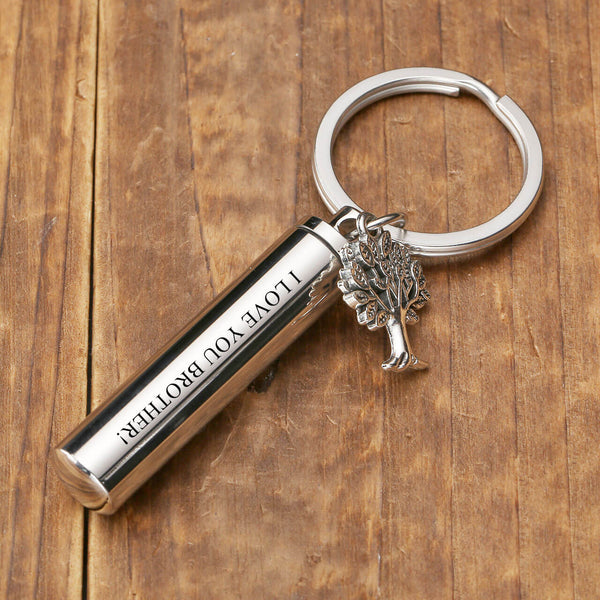 jovivi personalized cylinder urn keychain for ashes cremation memorial key ring with tree of life charm, front side, jnf006401