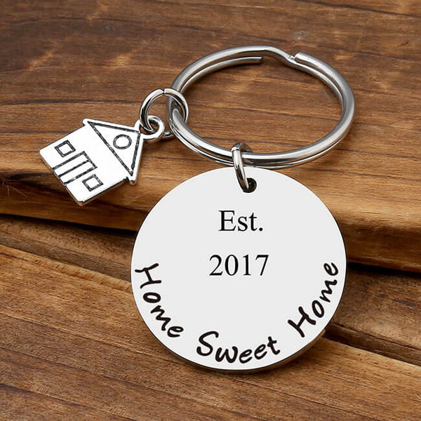 jovivi personalized round tag pendant keychain for family, front side, jnf007201