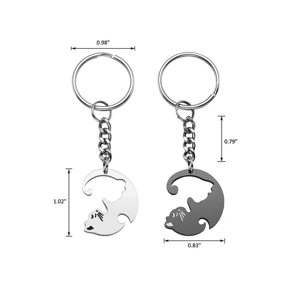 Jovivi Personalized Name Engraved Black and White Matching Puzzle Cat Couples Pendant Keychain