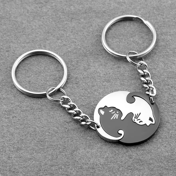 Jovivi personalized engrave cat puzzle keychain set for couples.