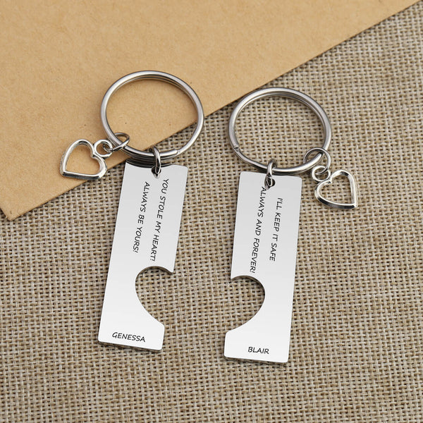 Jovivi Personalized Name Bar Puzzle Keychain for Him and Her Matching Keychains Gift