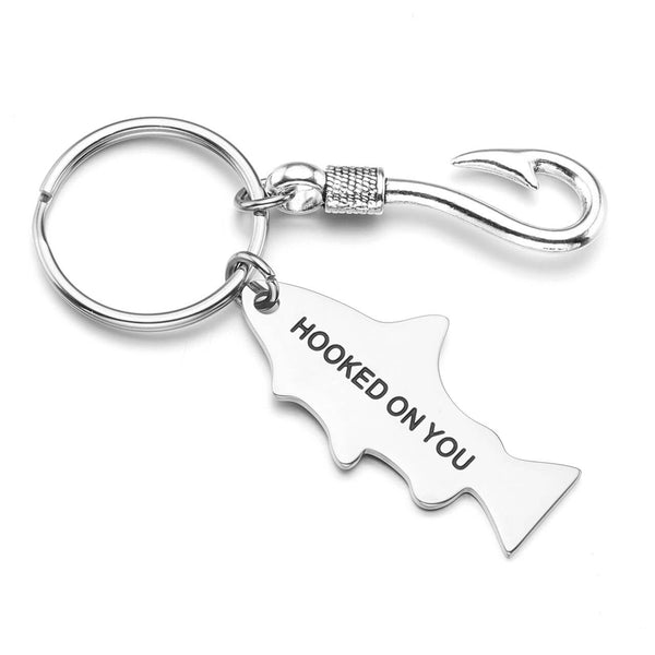 jovivi personalized custom fish hook tag keychainengraved gift for him