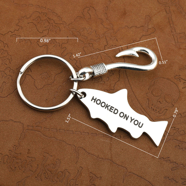 Jovivi personalized fishing keychain customized gift for dad, fisherman keychain for whoelsale