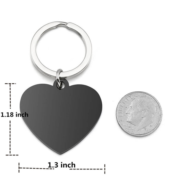 Jovivi Personalized Heart Dog Tag Keychain Custom Engraved Photo & Text Keyring