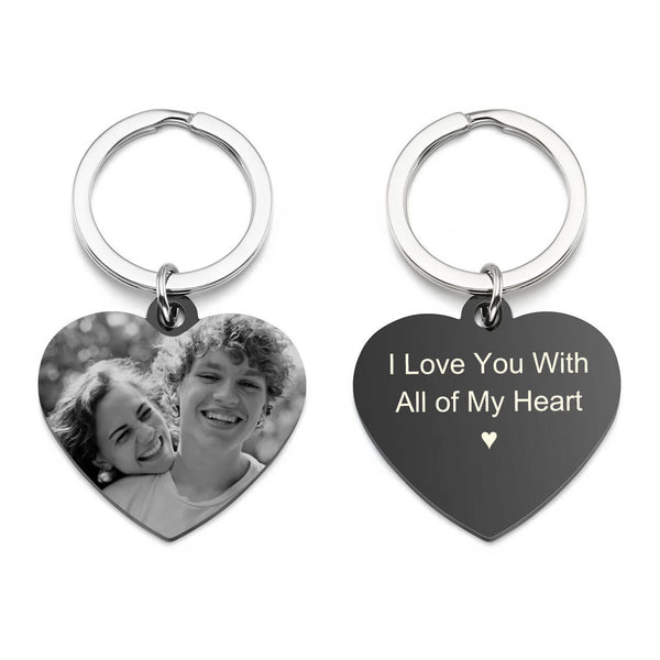 Jovivi personalized heart tag keychain photo engrave keyring for him