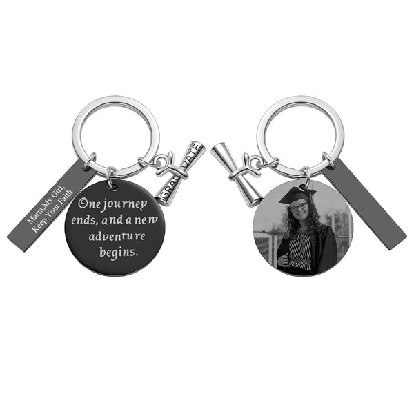 jovivi personalized photo tag keychain set for graduate students gift, jnf010806