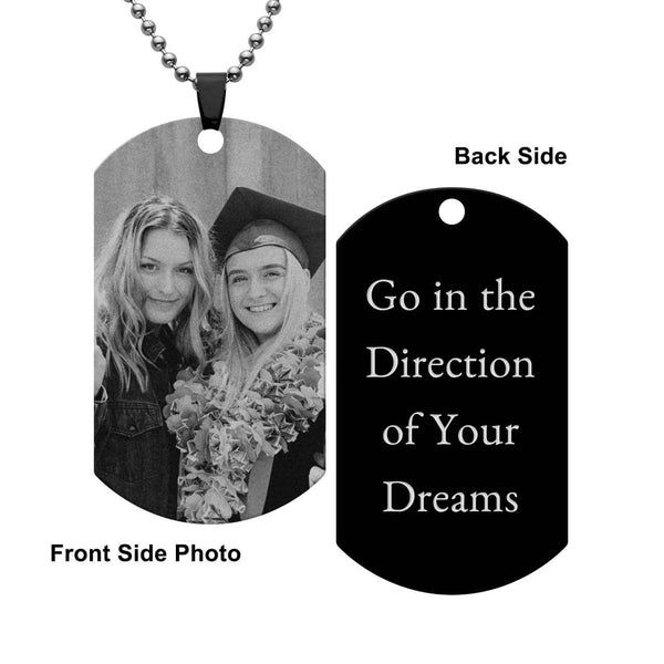 personalize custom picture pendant to commemorate precious moments, photo necklace and engrave text on the back