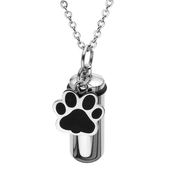 Jovivi dog paw pet urn necklace for ashes memorial keepsake jewelry, jng049501