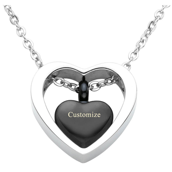 Jovivi personalized customization heart urn necklace memorial keepsake jewelry for mother, front side, jng050101