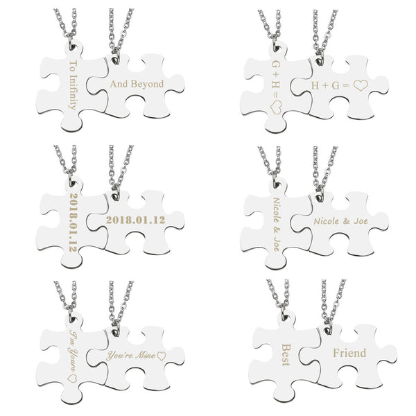 Jovivi Customize Puzzle Necklace Jigsaw Matching Couple Pendant Necklace