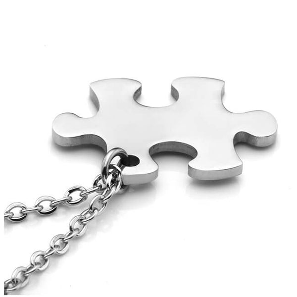 Jovivi Free Engraving - Personalized Custom 2pcs Stainless Steel Jigsaw Matching Puzzle Piece Couple Pendant Necklaces for His and Her