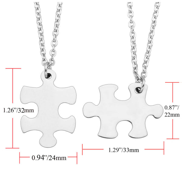 Jovivi Personalized Custom 2pcs Stainless Steel Jigsaw Matching Puzzle Piece Couple Necklaces for His and Her silver size, jng054701
