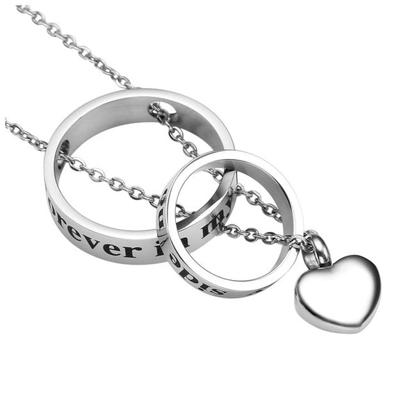 Jovivi Custom Cremation Necklace Dual-Ring for Ashes Memorial