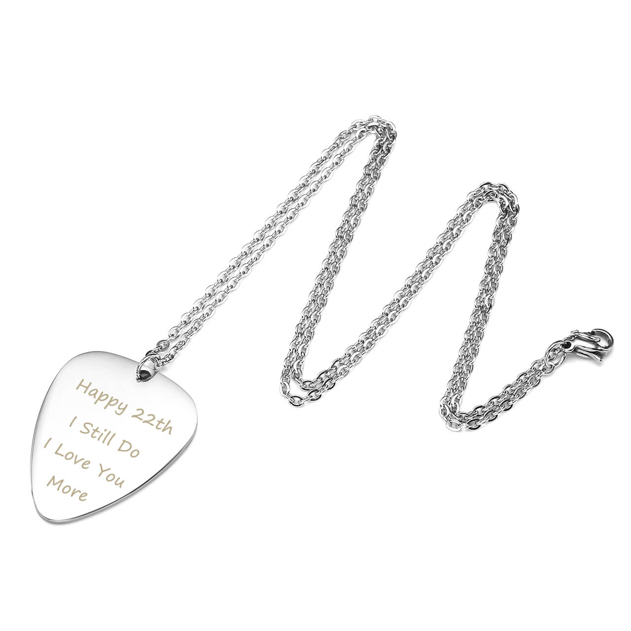 metal picks Guitar pick necklace with personalized words engraved on both sides front and back custom text gift ideas for music lovers