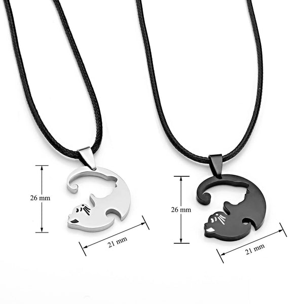 Jovivi Personalized Custom Name Puzzle Necklace Black and White Cat Matching Couples Pendant