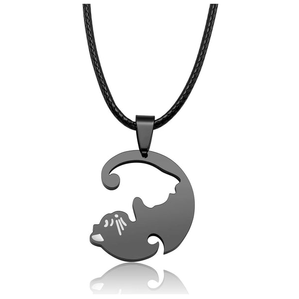 Jovivi personalized customize cat puzzle necklace for couples relationship necklaces