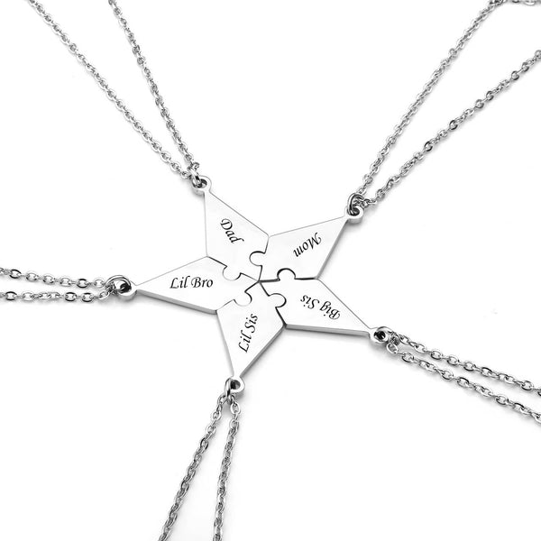 jovivi personalized  5pieces puzzle necklace for family name puzzle necklace Christmas gifts