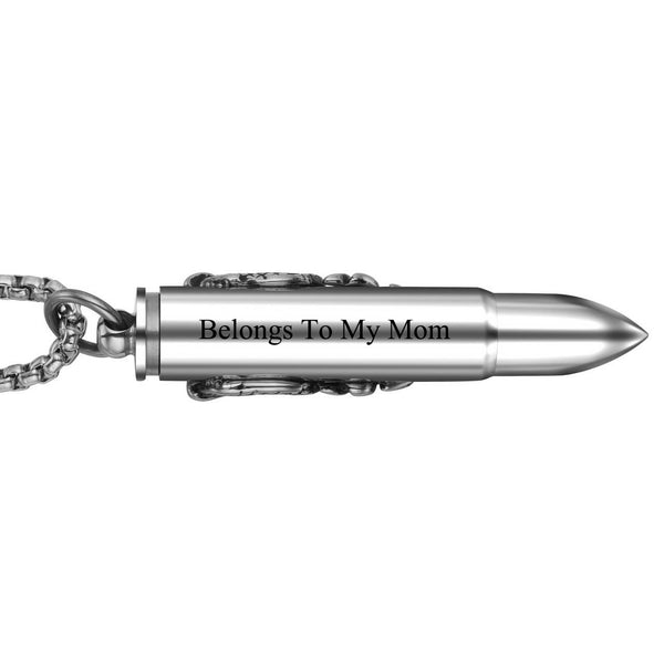 Jovivi Personalized Bullet Urn Necklace for Ashes Custom Cremation Memorial Keepsakes Jewelry
