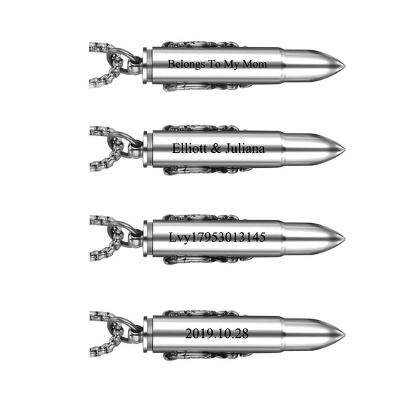 jovivi engrave message on the backside of the bullet pendant, example, jng067901