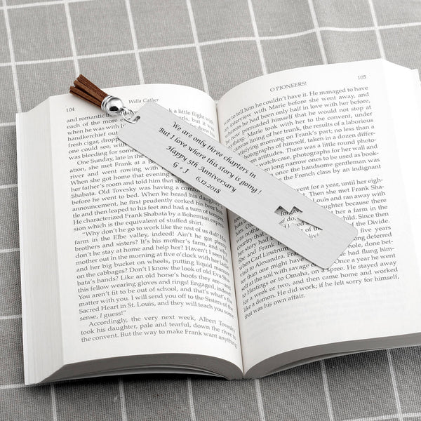 JOVIVI Personalized Metal Bookmarks, Custom Message Stainless Steel Rectangle Tag with Cross Tassel for Book Lover Kids Office School Reading