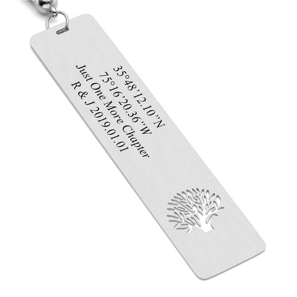 Jovivi Custom Metal Bookmarks with Tassels Personalized Message Rectangle Tag Bookmarks