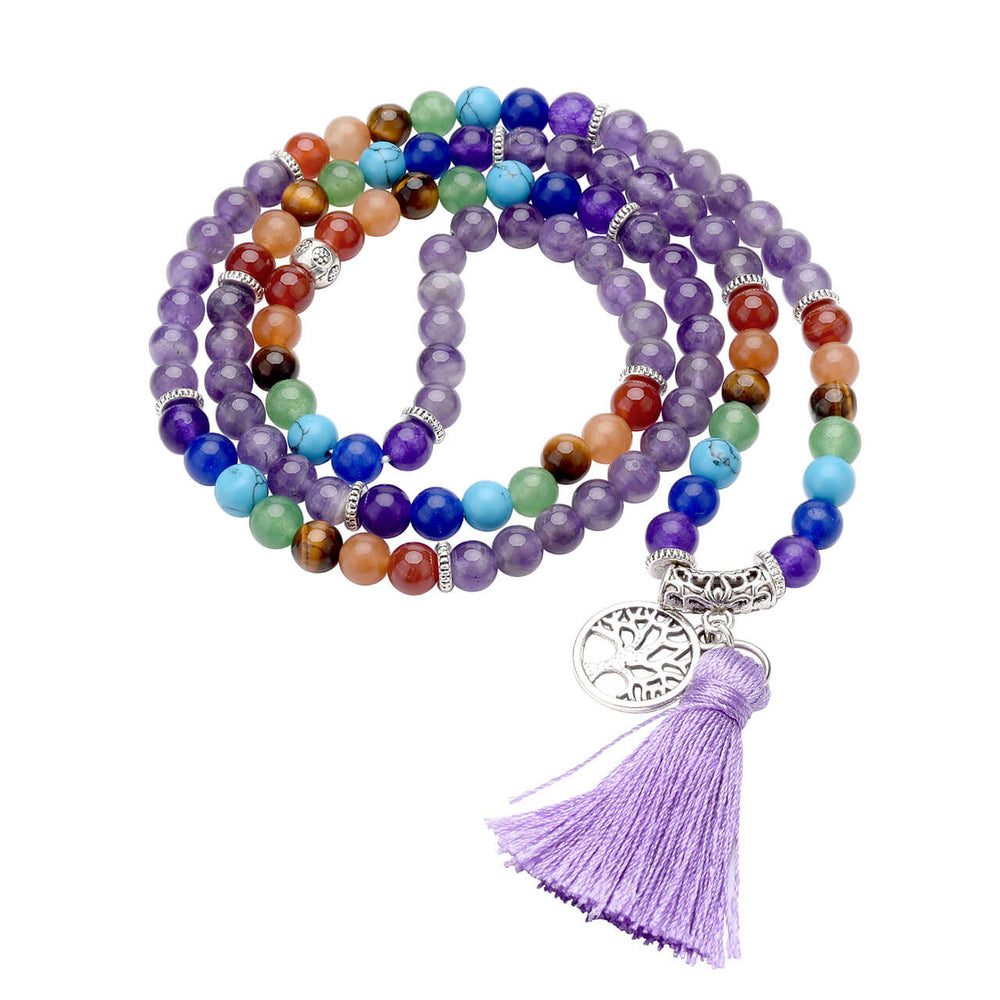 Natural Amethyst Chakras 108 Beaded Mala Bracelet Set + Tree of life