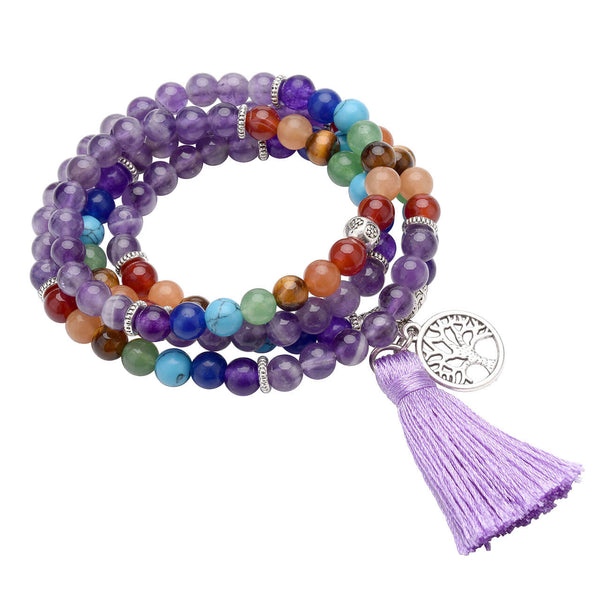 7 chakras amethyst mala prayer 108 beaded bracelet