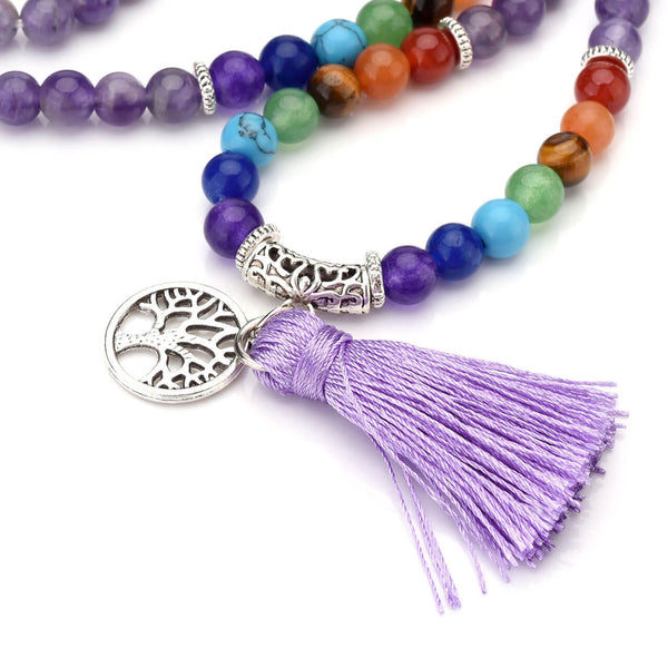 7 chakras amethyst mala prayer bracelet with tassel