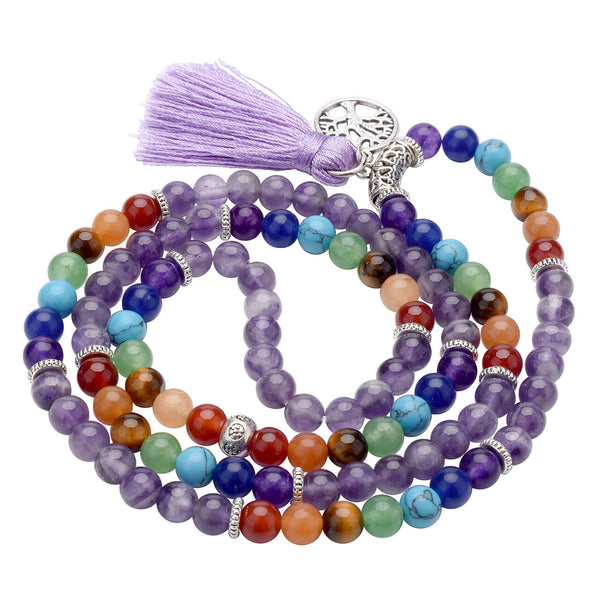 7 chakras amethyst mala prayer bracelet set with tree of life pendant