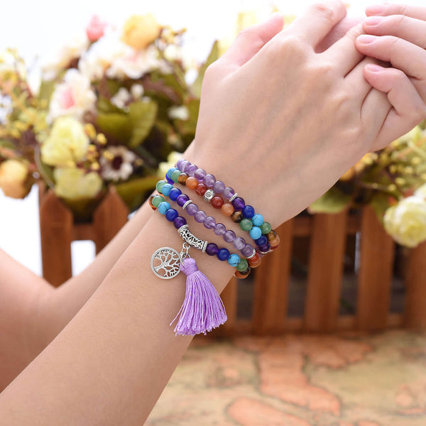 7 chakras amethyst mala prayer bracelet model