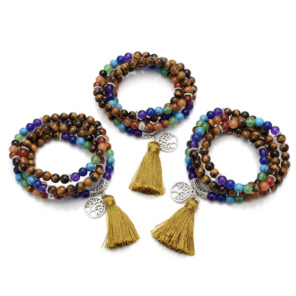 jnw003003 jovivi 7 chakras tassel tiger eye gemstone yoga meditation mala bracelet necklace