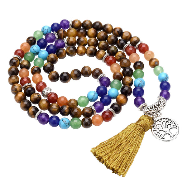jnw003003 jovivi natural 7 chakras tiger eyes tassel bracelet for yoga meditation