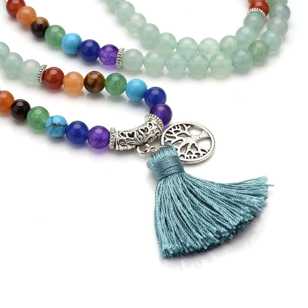 jovivi 7 chakras 108 mala meditation beads bracelet with tree of life tassel for buddhist