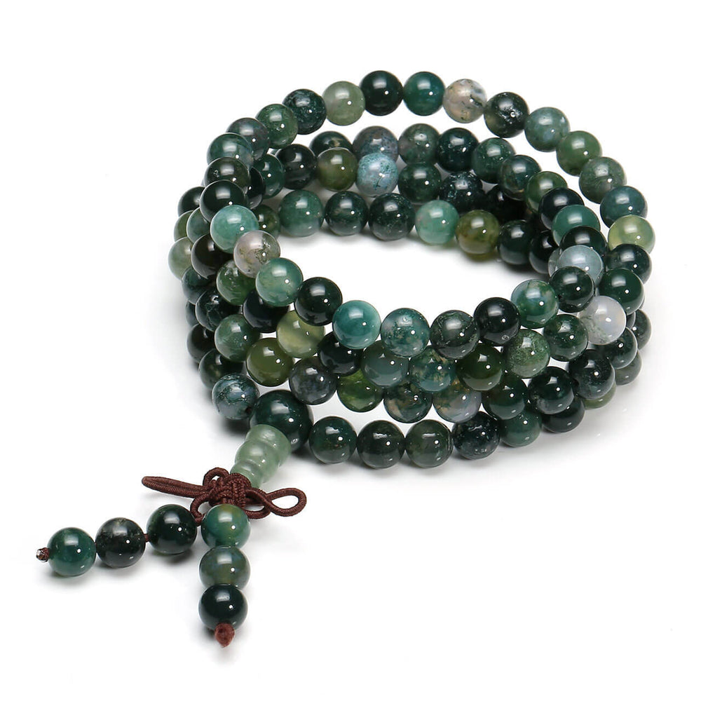 Jovivi Natural Moss Agate Stone Healing Gemstone 108 Mala Prayer Beads Stretch Bracelet Necklace