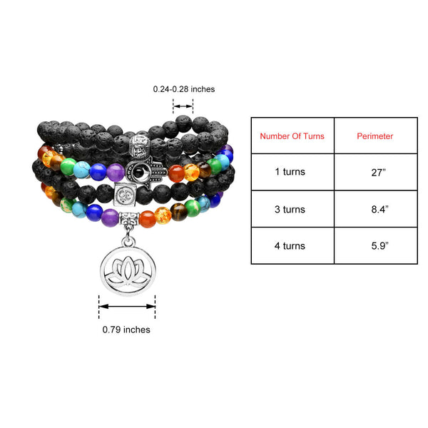 size of Natural Lava Rock Bracelet