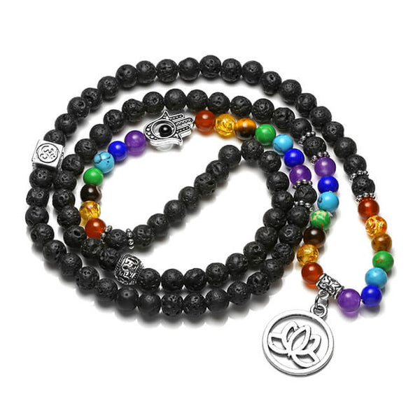 Jovivi 108 Mala Prayer Beads Natural Lava Rock Stone Essential Oil Diffuser Bracelet Necklace 7 Chakra Healing Crystals Yoga Meditation Stretch Bracelets