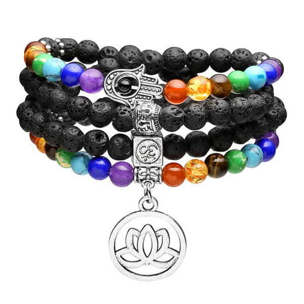 Jovivi 108 Mala Prayer Beads Natural Lava Rock Stone Essential Oil Diffuser Bracelet Necklace 7 Chakra Healing Crystals Yoga Meditation Stretch Bracelets front
