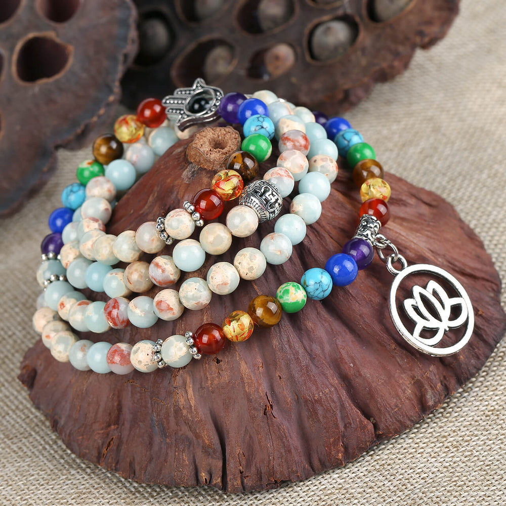 Jovivi 108 Buddhist Prayer Beads 7 Chakra Tibetan Mala Bracelet Lotus Charm Necklace