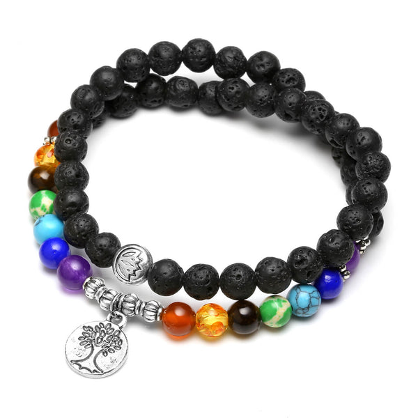 6mm Lava Rock Buddhist Prayer Beads 7 Chakra Tibetan Mala Tree of Life charm Diffuser Bracelet Necklace