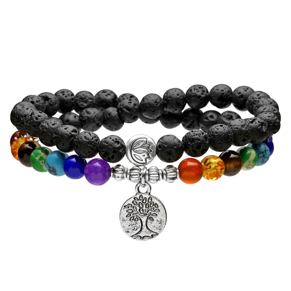 6mm Lava Rock Buddhist Prayer Beads 7 Chakra Tibetan Mala Tree of Life Diffuser Bracelet, front side, jnw004901