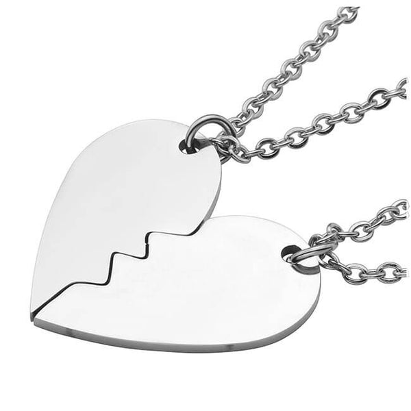 Personalized Custom Stainless Steel Peach Heart Puzzle Couple Necklace Jewelry Set initial necklace, jnz037201