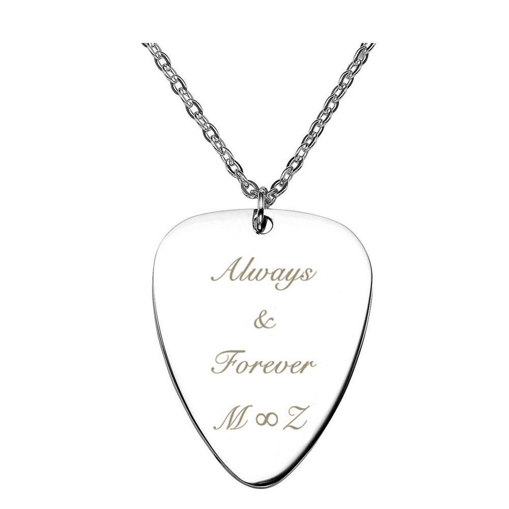 Jovivi Personalized Message Guitar Pick Necklace - Customized Pendant Necklaces Gift