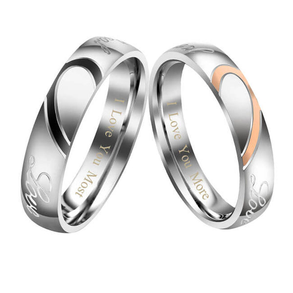 Jovivi Free Engraving Custom Stainless Steel His or Hers Real Love Heart Matching Set Couple Ring Engagement Promise Wedding Band Personalize ring